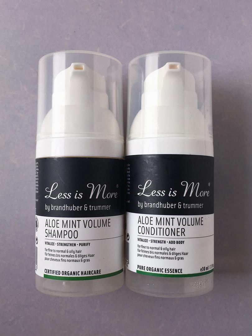 aloe mint shampoo und conditioner less is more genau greta. Black Bedroom Furniture Sets. Home Design Ideas